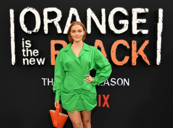 Madeline Brewer Leather Purse [orange is the new black,season,green,clothing,orange,workwear,outerwear,font,sleeve,style,madeline brewer,new york city,netflix,premiere]
