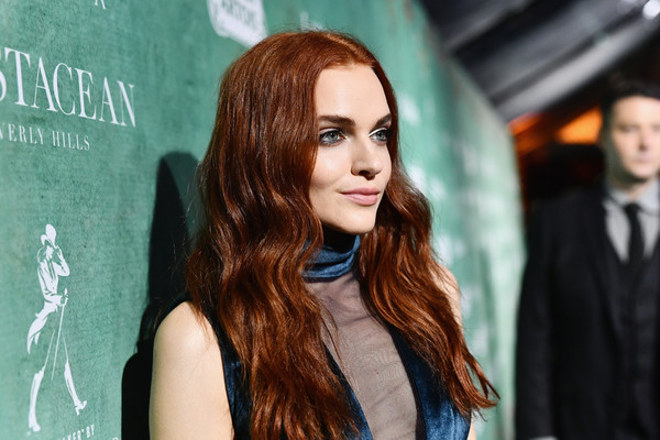 Madeline Brewer Long Wavy Cut [women in film pre-oscar cocktail party,hair,face,green,hairstyle,beauty,long hair,fashion,lip,brown hair,eye,11th annual women in film pre-oscar cocktail party,stella artois,johnnie walker,madeline brewer,support,crustacean beverly hills,max mara,lancome,red carpet]