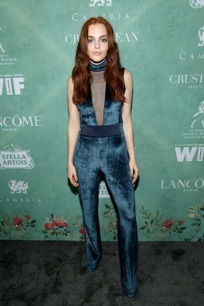 Madeline Brewer Jumpsuit [women in film pre-oscar cocktail party,clothing,denim,fashion,jeans,long hair,premiere,overall,fashion design,brown hair,style,11th annual women in film pre-oscar cocktail party,stella artois,johnnie walker,madeline brewer,support,crustacean beverly hills,max mara,lancome,red carpet]