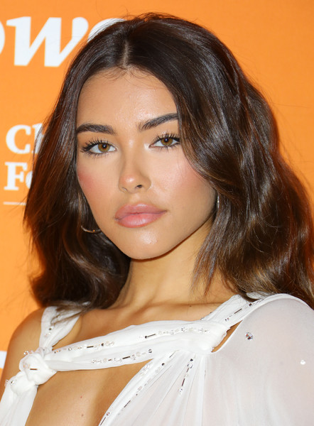 Madison Beer Pink Lipstick [hair,face,hairstyle,eyebrow,chin,beauty,shoulder,layered hair,lip,brown hair,arrivals,madison beer,trevorlive,los angeles,beverly hills,california,the beverly hilton hotel,los angeles gala]