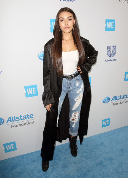 Madison Beer Duster [clothing,fashion,carpet,outerwear,jacket,long hair,fashion design,flooring,electric blue,style,celebs,madison beer,young people changing the world,people,california,world,inglewood,the forum,we day]