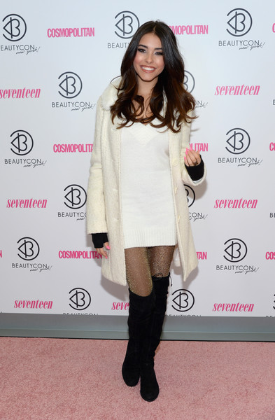 Madison Beer Wool Coat [clothing,shoulder,fashion,joint,hairstyle,fashion model,footwear,leg,dress,knee-high boot,pier 36,new york city,beautycon new york city festival,madison beer]