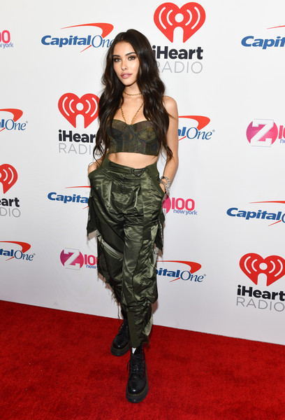 Madison Beer Cargo Pants [jingle ball 2018,clothing,red carpet,carpet,shoulder,camouflage,fashion,fashion model,footwear,joint,flooring,madison beer,room,new york city,madison square garden,z100]