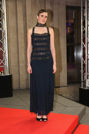 Greta Gerwig chose a navy Chanel gown with a lace-striped bodice for the Berlinale premiere of 'Maggie's Plan.'