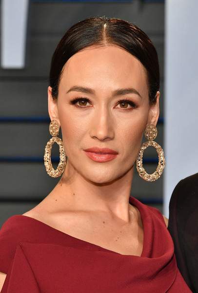 Maggie Q Gold Hoops [oscar party,vanity fair,hair,face,eyebrow,hairstyle,lip,chin,beauty,fashion,forehead,cheek,beverly hills,california,wallis annenberg center for the performing arts,radhika jones - arrivals,radhika jones,maggie q]