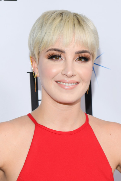Maggie Rose Bowl Cut [hair,face,hairstyle,blond,chin,eyebrow,head,beauty,lip,bangs,arrivals,maggie rose,bmi country awards,nashville,tennessee,bmi]