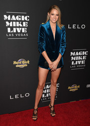 Cody Horn highlighted her gorgeous legs in a blue velvet short suit by Self-Portrait at the grand opening of 'Magic Mike Live Las Vegas.'