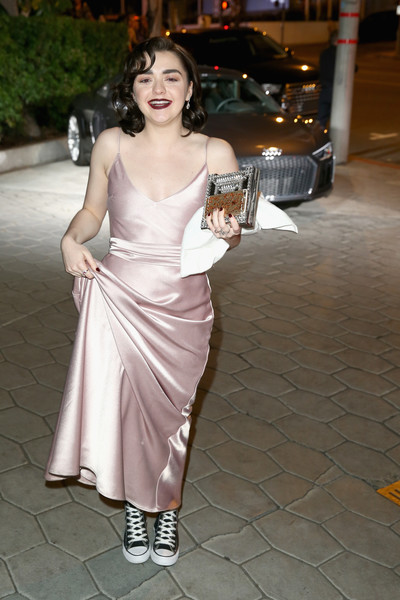 Maisie Williams Canvas Sneakers [shoulder,photograph,lady,clothing,dress,beauty,hairstyle,snapshot,gown,fashion,maisie williams,west hollywood,california,sunset tower hotel,weinstein company,netflix,audi,sag 2017 after party]