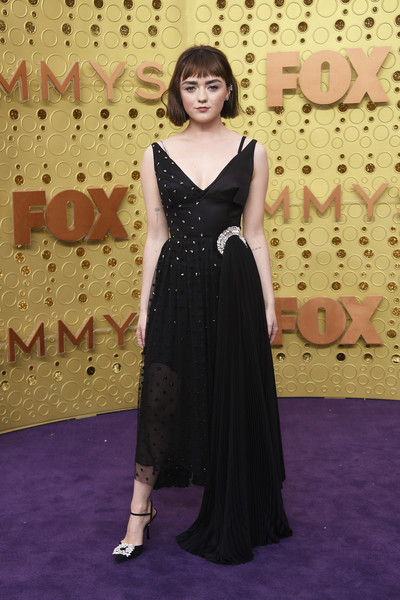 Maisie Williams Beaded Dress [red carpet,carpet,dress,clothing,flooring,hairstyle,fashion,lady,gown,formal wear,arrivals,maisie williams,emmy awards,microsoft theater,los angeles,california,71st primetime emmy awards,game of thrones,microsoft theater,red carpet,celebrity,television,prime time,red carpet fashion,primetime emmy award for outstanding comedy series]