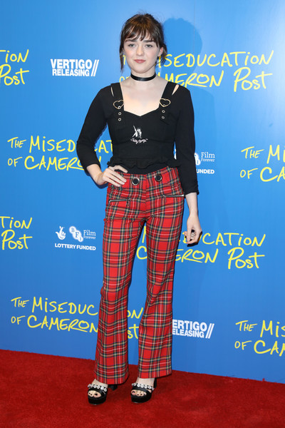 Maisie Williams Fitted Blouse [the miseducation of cameron post,clothing,carpet,plaid,electric blue,tartan,premiere,red carpet,pattern,trousers,pantsuit,red carpet arrivals,carpet,trousers,maisie williams,red carpet,plaid,fashion,gala screening,premiere,maisie williams,arya stark,game of thrones,red carpet,trousers,premiere,fashion,sandal,blue]