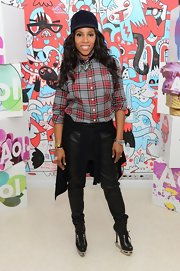 June Ambrose stopped by AOL Studios in a pair of black Dsquared boots.