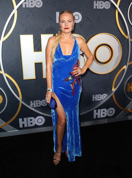 Malin Akerman Satin Clutch [clothing,dress,shoulder,electric blue,carpet,fashion,cocktail dress,red carpet,premiere,event,arrivals,malin akerman,post emmy awards,the plaza,los angeles,california,pacific design center,hbo,reception,post emmy awards reception]