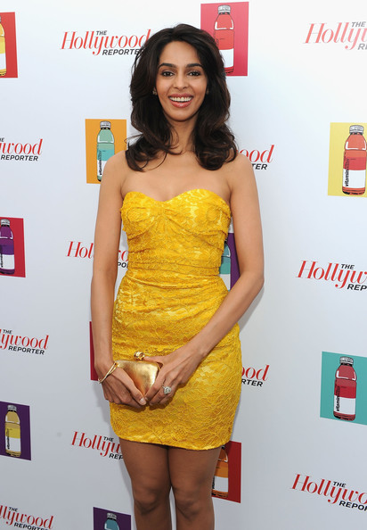 Mallika Sherawat Box Clutch [hollywood reporter,clothing,cocktail dress,dress,yellow,hairstyle,fashion,strapless dress,thigh,shoulder,leg,mallika sherawat,vitaminwater,jodie foster,majestic beach pier,cannes,france,the beaver party,party,cannes film festival]