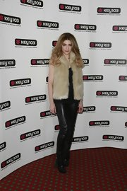 Nicola Roberts opted for an exotic vibe teaming a pair of skinny leather pants with a furry vest.