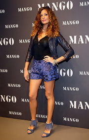Alessa Fabiani attended the Mango store opening in a cool pair of fringed heels. Fringe is on the rise and showing up on everything you can think of this season.