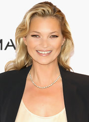 Kate Moss wore a pretty pearlescent beige lipstick at the launch of her new ad campaign for Mango.