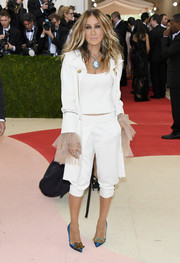 Sarah Jessica Parker went the androgynous route in a cropped, ruffle-accented pantsuit by Monse for her Met Gala look.