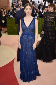 Anna Kendrick went for classic glamour in a deep-V cobalt sequin gown by Derek Lam at the Met Gala.