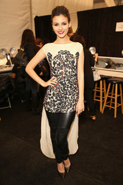 Victoria Justice made a cool choice with this beaded mullet blouse when she attended the Mara Hoffman fashion show.