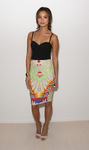 Jamie Chung complemented her cami with a colorful and chic pencil skirt.