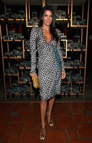 Angie Harmon went for an elegant finish with a pair of strappy satin heels, also by Marc Jacobs.