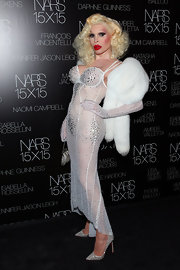 Amanda Lepore channeled Marilyn Monroe by wearing a white sequined dress at  an event hosted by NARS.