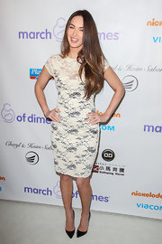 Megan got lacy in this white and black number at the March of Dimes Celebration.