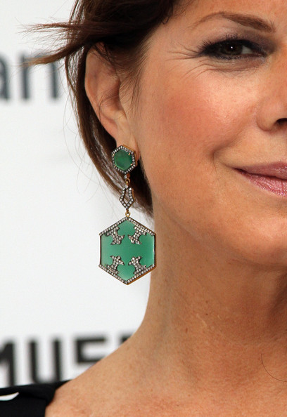 Marcia Gay Harden Dangling Gemstone Earrings [neck,green,jewellery,fashion accessory,chin,earrings,ear,cheek,emerald,body jewelry,marcia gay harden,museum of the moving image inaugural envision award,earring detail,museum of the moving image inaugural envision award gala dinner,new york city,museum of the moving image,gala dinner]