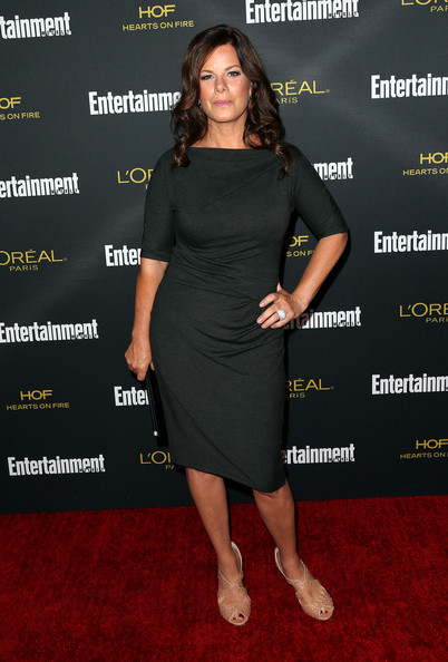 Marcia Gay Harden Peep Toe Pumps [clothing,dress,little black dress,cocktail dress,carpet,shoulder,premiere,red carpet,footwear,joint,party - arrivals,marcia gay harden,west hollywood,california,fig olive melrose place,entertainment weekly,pre emmy party]