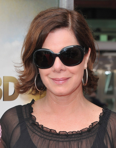 Marcia Gay Harden Short Wavy Cut [born to be wild 3-d,eyewear,sunglasses,hair,face,glasses,hairstyle,cool,eyebrow,beauty,vision care,marcia gay harden,california,los angeles,warner bros. pictures,red carpet,california science center,premiere,premiere]