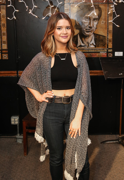 Maren Morris Leather Belt [acm lifting lives the bluebird with maren morris,clothing,fashion,crop top,outerwear,jeans,leg,shoulder,tights,see-through clothing,long hair,campers,maren morris,nashville,tennessee,bluebird cafe,acm lifting lives music camp]