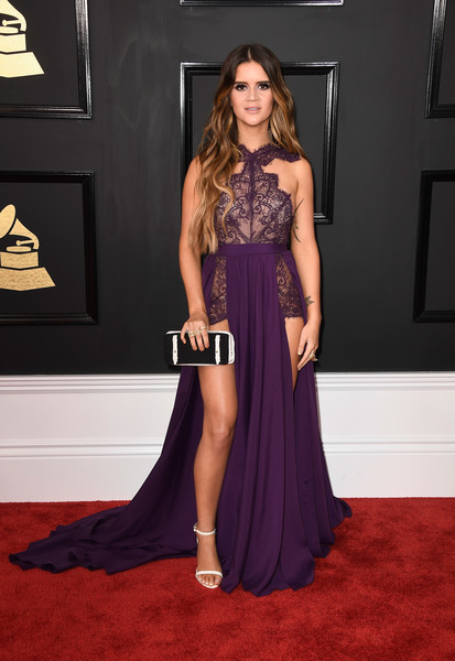 Maren Morris Halter Dress [flooring,fashion model,carpet,dress,gown,shoulder,fashion,leg,red carpet,cocktail dress,arrivals,maren morris,grammy awards,staples center,los angeles,california,the 59th grammy awards]