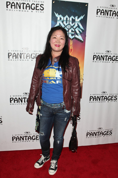Margaret Cho Leather Jacket [rock of ages,clothing,carpet,jacket,red carpet,fashion,premiere,outerwear,flooring,leather,footwear,margaret cho,pantages theatre,california,hollywood,red carpet,opening night]