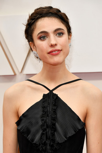 Margaret Qualley Braided Updo [hair,clothing,hairstyle,beauty,shoulder,skin,fashion,dress,lip,black hair,arrivals,margaret qualley,hollywood,highland,california,92nd annual academy awards,margaret qualley,once upon a time in hollywood,dolby theatre,actor,academy awards,rocks,uncategorized,spinning with the stars \u2014 mental health foundation of nova scotia,photography,red carpet]