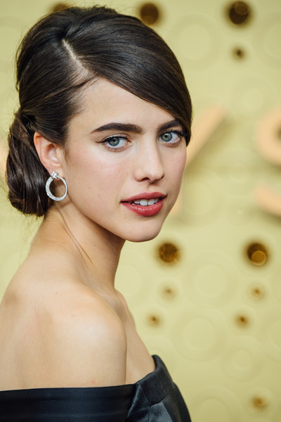 Margaret Qualley Chignon [image,hair,face,hairstyle,eyebrow,beauty,chin,lip,black hair,makeover,long hair,arrivals,margaret qualley,emmy awards,filters,los angeles,california,microsoft theater]