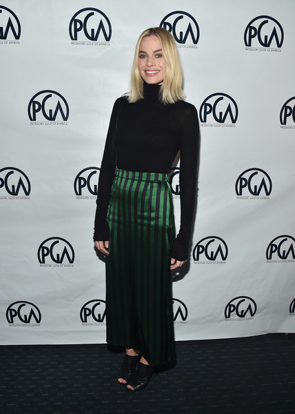 Margot Robbie Long Skirt [clothing,fashion model,flooring,dress,beauty,little black dress,fashion,shoulder,catwalk,carpet,margo robbie,nominees breakfast,california,los angeles,saban theater,annual producers guild awards,29th annual producers guild awards]