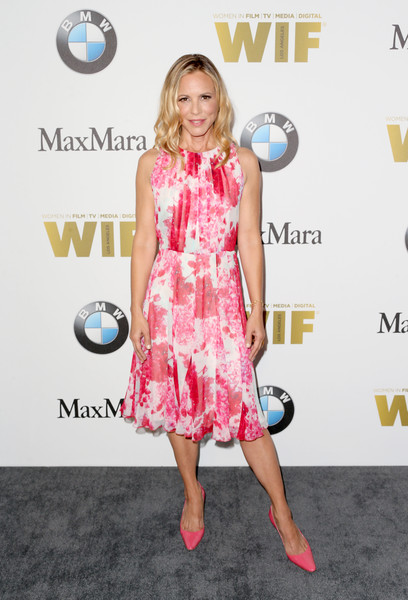 Maria Bello Print Dress [clothing,dress,red carpet,pink,fashion,premiere,footwear,carpet,cocktail dress,flooring,arrivals,women in film 2016 crystal lucy awards,maria bello,the beverly hilton,california,beverly hills,max mara,bmw]