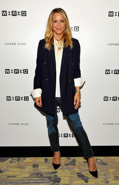 Maria Bello Skinny Jeans [maria bello,clothing,fashion,outerwear,footwear,blazer,jeans,electric blue,street fashion,formal wear,shoe,wired cafe at comic-con,wired cafe,san diego,california,omni hotell,comic-con international 2016]