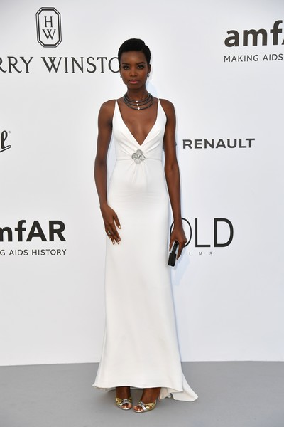 Maria Borges Evening Dress [photo,white,gown,dress,flooring,fashion model,formal wear,fashion,cocktail dress,catwalk,fashion show,maria borges,alberto pizzoli,amfar gala cannes,angolan,cap dantibes,france,hotel du cap-eden-roc,amfar,24th cinema against aids gala]