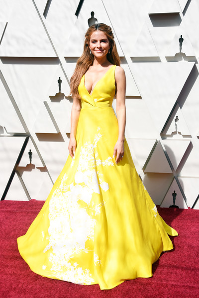 Maria Menounos Princess Gown [dress,gown,fashion model,clothing,red carpet,yellow,carpet,flooring,shoulder,bridal party dress,arrivals,maria menounos,academy awards,hollywood,highland,california,annual academy awards]