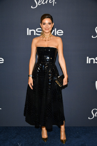Maria Menounos Strapless Dress [clothing,dress,fashion model,strapless dress,cocktail dress,fashion,little black dress,waist,carpet,haute couture,maria menounos,beverly hills,california,the beverly hilton hotel,warner bros,instyle golden globe,instyle golden globe after party,arrivals,emily blunt,golden globe awards,stock photography,celebrity,photograph,party,entertainment]