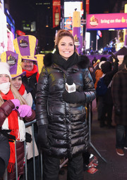 Maria Menounos geared up for freezing weather in a fur-trimmed puffer coat for her 'Live from Times Square' show.