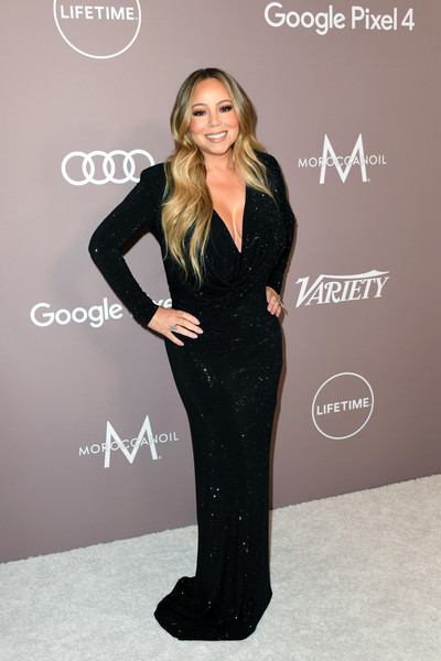 Mariah Carey Beaded Dress [clothing,fashion,dress,hairstyle,carpet,suit,blond,shoulder,formal wear,long hair,variety,lifetime,power of women,power of women,los angeles,beverly hills,california,beverly wilshire four seasons hotel,arrivals,mariah carey]
