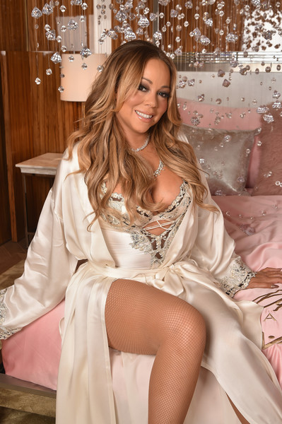 Mariah Carey Bodysuit [clothing,lady,long hair,blond,beauty,robe,satin,sitting,nightwear,leg,mariah carey,m.a.c cosmetics,nyc,baccarat hotel,mariah carey beauty icon launch]