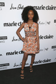 Marsai Martin looked spring-chic  in a floral mini dress by Giamba at the 2018 Marie Claire Fresh Faces event.