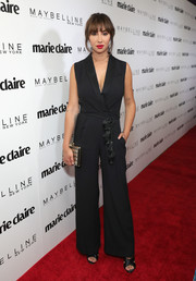 Jackie Cruz kept it smart in a black tux-style jumpsuit at the Marie Claire Fresh Faces celebration.
