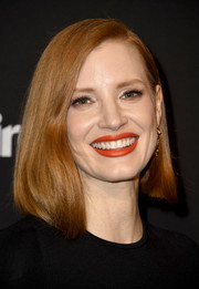 Jessica Chastain showed off a trendy asymmetrical lob at the Marie Claire Change Makers celebration.