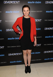 Veronica Roth opted for a pair of black ankle boots to complete her ensemble.