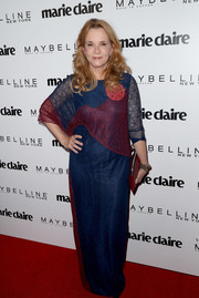 Lea Thompson donned a color-block lace maxi dress for the Marie Claire Fresh Faces celebration.