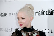Dove Cameron rocked an ice-blonde top knot at the Marie Claire Fresh Faces celebration.
